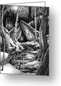 Cavern Drawings Greeting Cards - The sentinel Greeting Card by Michael Brack