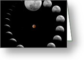 Lunar Eclipse Greeting Cards - The Sequence Of A Total Lunar Eclipse Greeting Card by Miguel Claro