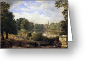 Pond Painting Greeting Cards - The Serpentine Greeting Card by Jasper Francis Cropsey