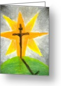 Faith Pastels Greeting Cards - The Setting of the Rising Son Greeting Card by Calli L
