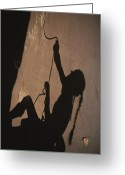 Hairstyles Greeting Cards - The Shadow Of A Rock Climber On A San Greeting Card by John Burcham
