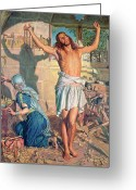 Jesus Painting Greeting Cards - The Shadow of Death Greeting Card by William Holman Hunt
