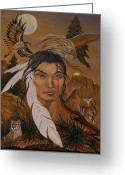 Spirit Hawk Art Greeting Cards - The Shaman Greeting Card by Jeanette Sacco-Belli