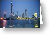 Structures Greeting Cards - The Shanghai Skyline And Riverfront Greeting Card by Raul Touzon