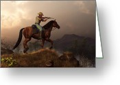 American Cowboy Digital Art Greeting Cards - The Sharpshooter Greeting Card by Daniel Eskridge