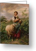 Lamb Greeting Cards - The Shepherdess Greeting Card by Johann Baptist Hofner