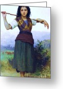 Shepherdess Painting Greeting Cards - The shepherdess Greeting Card by Pg Reproductions