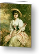 Lambing Greeting Cards - The Shepherdess Greeting Card by Sir Samuel Luke Fildes