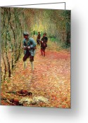 Pheasant Greeting Cards - The Shoot Greeting Card by Claude Monet
