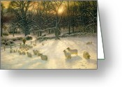Winter Sun Greeting Cards - The Shortening Winters Day is Near a Close Greeting Card by Joseph Farquharson