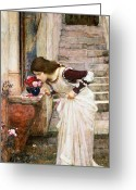 Sniff Greeting Cards - The Shrine Greeting Card by John William Waterhouse