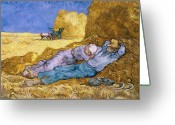 Scythe Greeting Cards - The Siesta Greeting Card by Vincent Van Gogh