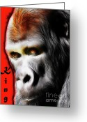Portraits Mixed Media Greeting Cards - The Silverback Gorilla . King of the Jungle Greeting Card by Wingsdomain Art and Photography
