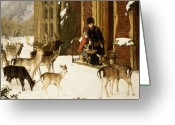 Snowing Greeting Cards - The Sisters of Charity Greeting Card by Charles Burton Barber