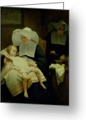 Nurses Greeting Cards - The Sisters of Mercy Greeting Card by Henriette Browne
