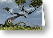 Whimsical Tree Greeting Cards - The Sitting Tree Greeting Card by Cynthia Decker