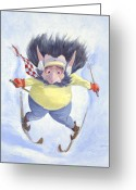 Elves Greeting Cards - The Skier Greeting Card by Leonard Filgate