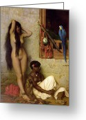 Orientalist Greeting Cards - The Slave for Sale Greeting Card by Jean Leon Gerome