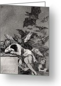 Sinister Greeting Cards - The Sleep of Reason Produces Monsters Greeting Card by Goya