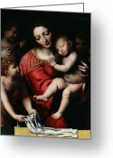 Biblical Greeting Cards - The Sleeping Christ Greeting Card by Bernardino Luini