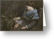 Slumber Greeting Cards - The Sleeping Embroiderer Greeting Card by Gustave Courbet