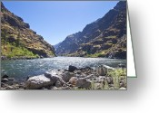 Rock Walls Greeting Cards - The Snake River in Hells Canyon Greeting Card by Kevin Felts