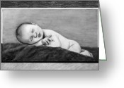 Graphite Greeting Cards - The Snooze  Greeting Card by Peter Piatt
