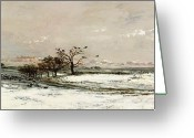 Slush Greeting Cards - The Snow Greeting Card by Charles Francois Daubigny