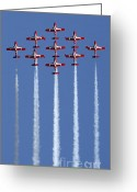 Team Greeting Cards - The Snowbirds Going Vertical Greeting Card by Bob Christopher
