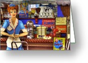 Milkshakes Greeting Cards - The Soda Fountain Greeting Card by David Patterson