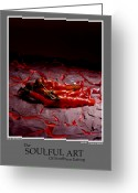 Stylized Art Greeting Cards - The Soufull Art Of Southern Eating-Red Peppers Greeting Card by Jerry Taliaferro
