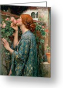 Female Greeting Cards - The Soul of the Rose Greeting Card by John William Waterhouse