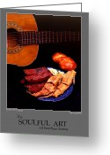 Stylized Art Greeting Cards - The Soulful Art Of Southern Eating-Catfish and Ribs Greeting Card by Jerry Taliaferro