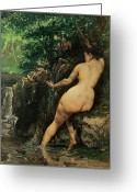Bare Trees Painting Greeting Cards - The Source or Bather at the Source Greeting Card by Gustave Courbet