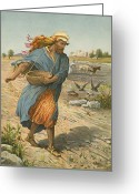 Seed Sower Greeting Cards - The Sower Sowing The Seed Greeting Card by English School