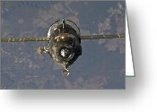 Spacecraft Greeting Cards - The Soyuz Tma-19 Spacecraft Greeting Card by Stocktrek Images