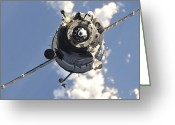 Spacecraft Greeting Cards - The Soyuz Tma-20 Spacecraft Greeting Card by Stocktrek Images