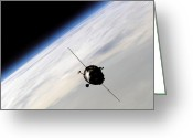 Space Travel Greeting Cards - The Soyuz Tma-3 Spacecraft Orbiting Greeting Card by Stocktrek Images