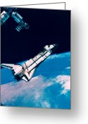 Shuttle Greeting Cards - The Space Shuttle And Space Station In Orbit Above The Earth Greeting Card by Stockbyte