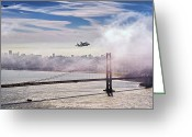 Over Greeting Cards - The Space Shuttle Endeavour over Golden Gate Bridge 2012 Greeting Card by David Yu
