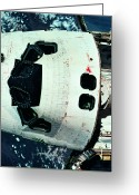 Shuttle Greeting Cards - The Space Shuttle Orbiting Above The Earth Greeting Card by Stockbyte