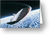 Shuttle Greeting Cards - The Space Shuttle Re-entering The Earths Atmosphere Greeting Card by Stockbyte