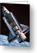 Shuttle Greeting Cards - The Space Shuttle With Cargo Bay Open Orbiting Above Earth Greeting Card by Stockbyte