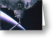 Shuttle Greeting Cards - The Space Shuttle With Its Cargo Bay Open Greeting Card by Stockbyte