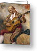 Pierre Auguste (1841-1919) Greeting Cards - The Spanish Guitarist Greeting Card by Pierre Auguste Renoir
