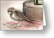 Oil Pastel Greeting Cards - The Sparrow Greeting Card by David Finley