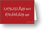 Text Greeting Cards - The Speed of Light Greeting Card by Michael Tompsett