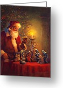 Claus Greeting Cards - The Spirit of Christmas Greeting Card by Greg Olsen