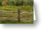 Split-rail Fence Greeting Cards - The Split Rail Meadow Greeting Card by Benanne Stiens