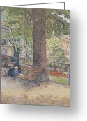 Sat Greeting Cards - The Square at Vintimille Greeting Card by Edouard Vuillard